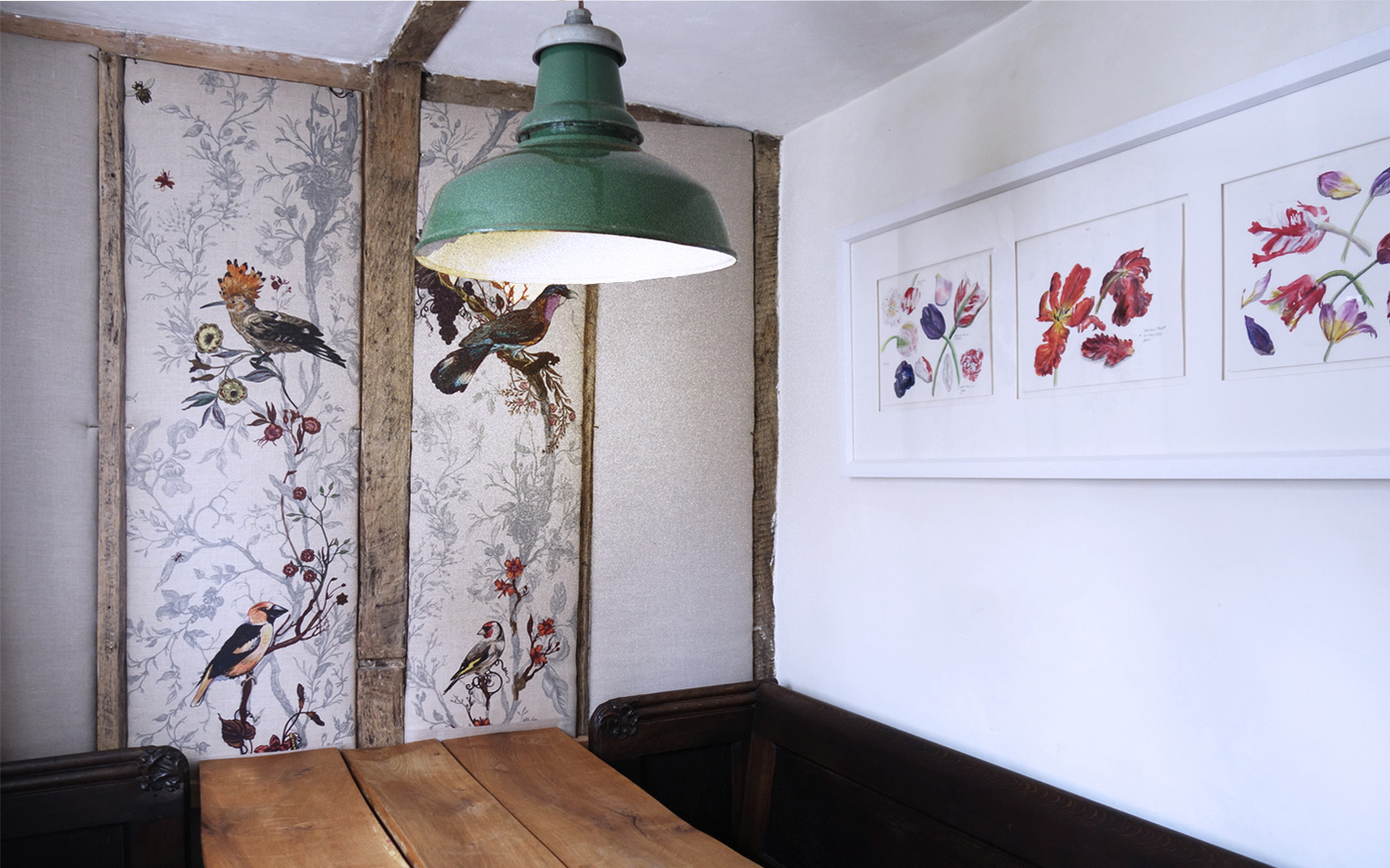 country house dining room with bird print fabric wallpanels