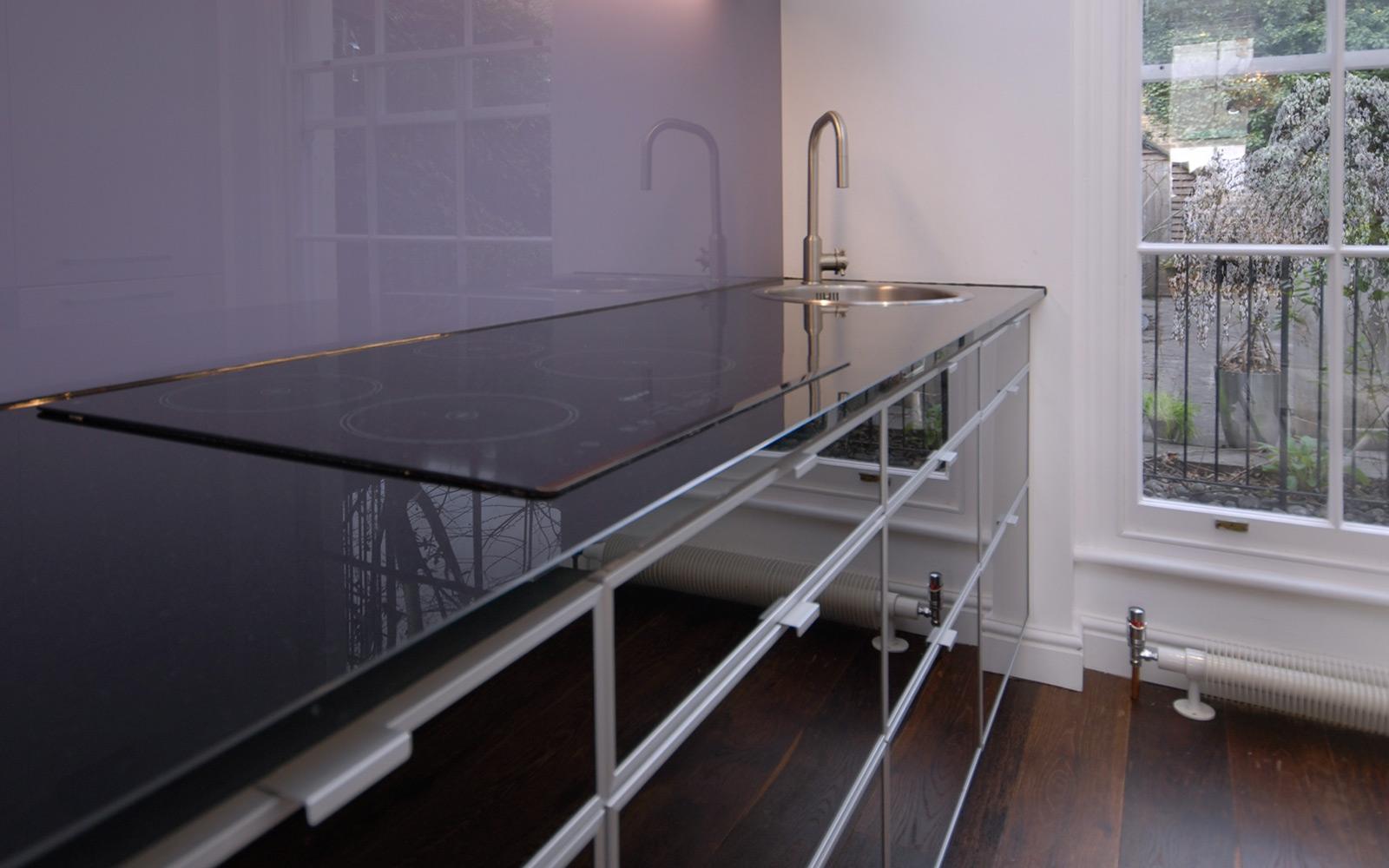 kitchen design with glass