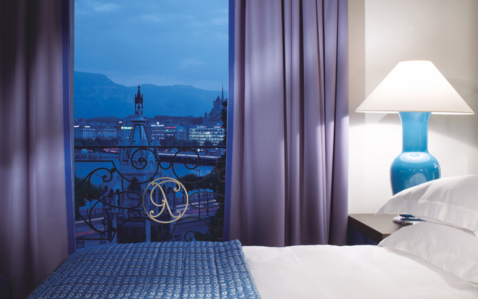 button to hospitality page; Rocco Forte Hotels; bedroom