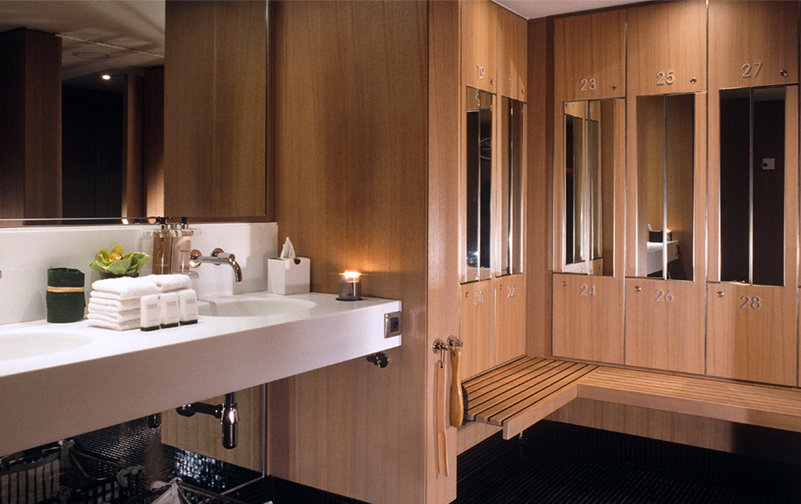 hotel design, spa changing room