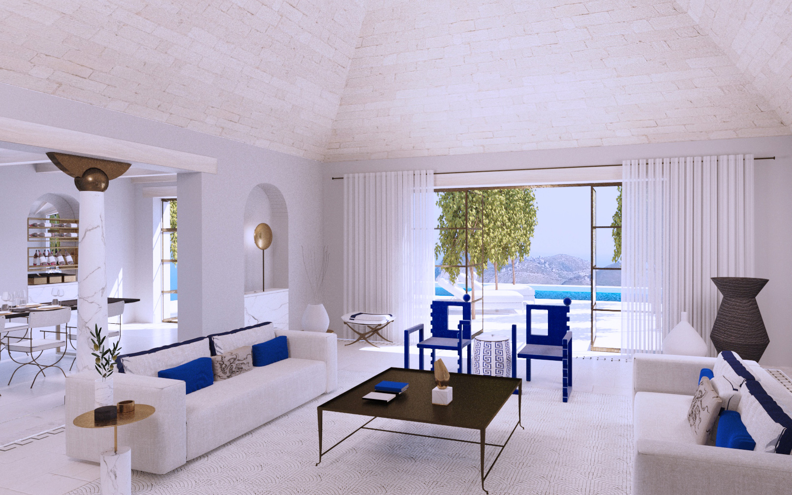villa mani - speculative design lounge, terrace and swimming pool