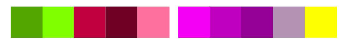 Examples of Red-Green and Purple_yellow Complementary Colour Harmonies