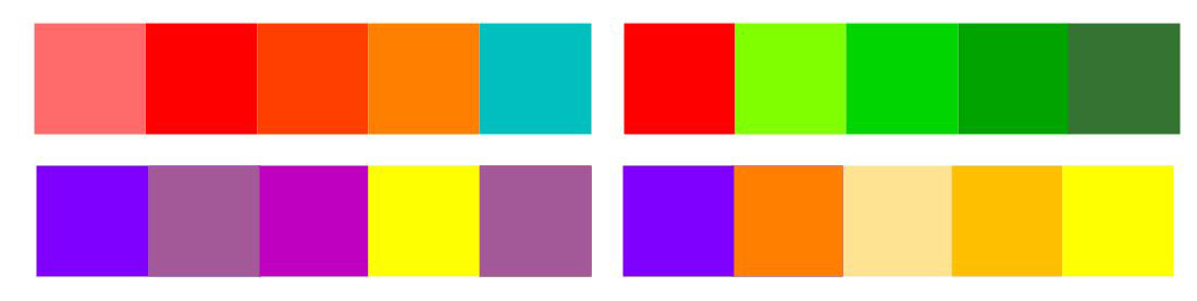 Mre Examples of Complementary Analogous Colour Harmonies