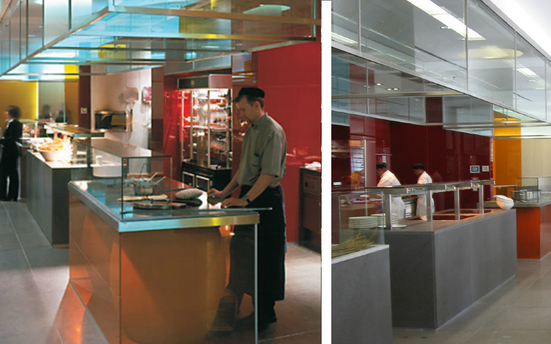 hotel designer for radisson blue public areas showing open show kitchen